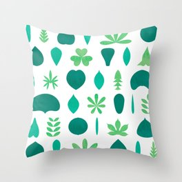 Leaf Shapes and Arrangements Pattern Bright Throw Pillow