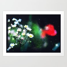 Flowers, My Heart And The Stars Art Print