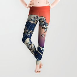 The Great Wave Of  French Bulldog Leggings