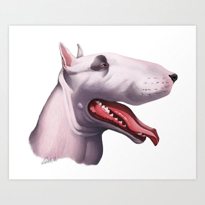English Bull Terrier Caricature Art Print By Petpicsart Society - Bull terrier art