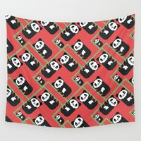 pandas Wall Tapestries featuring LAZY PANDAS by Juliana Vidal