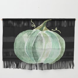 Blue Watercolor Pumpkin on Black Wall Hanging