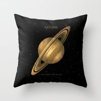 saturn Throw Pillows featuring Saturn by Terry Fan