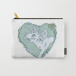 Triceratops Heart - Green Carry-All Pouch