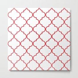 Quatrefoil - Rose Red Metal Print