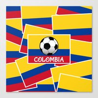 colombia Canvas Prints featuring Colombia Football by mailboxdisco