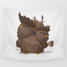 Grumpy coffee owl Wall Tapestry