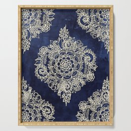 Cream Floral Moroccan Pattern on Deep Indigo Ink Serving Tray