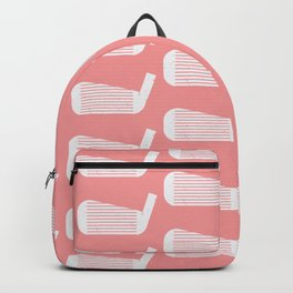 Golf Club Head Vintage Pattern (Pink/White) Backpack