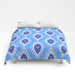 IKAT pattern 02, blue Comforters