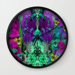 Sugar Skull and Girly Corks (psychedelic, abstract, halftone, op art) Wall Clock