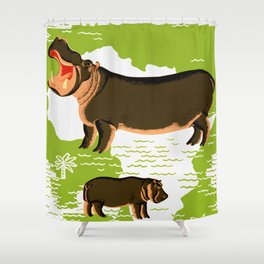 Vintage African Hippo Zoo Ad Shower Curtain