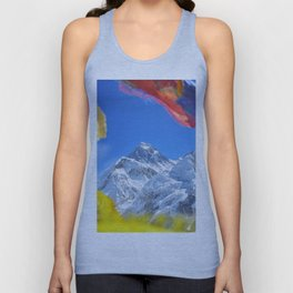 Summit of mount Everest or Chomolungma - highest mountain in the world, view from Kala Patthar,Nepal Unisex Tank Top