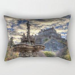 Ross Fountain And Edinburgh Castle Rectangular Pillow