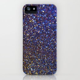 Blue and Gold Sparkles iPhone Case