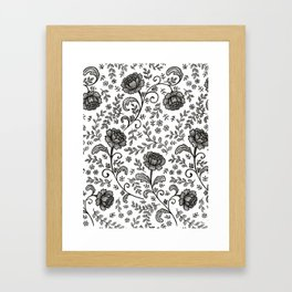 Floral Lace (black on white) Framed Art Print