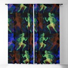 Watercolor women runner pattern on dark background Blackout Curtain