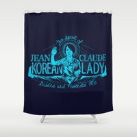 korean Shower Curtains featuring Jean Claude Korean Lady by Emily Doyle