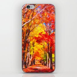 Falling leaves natural background iPhone Skin