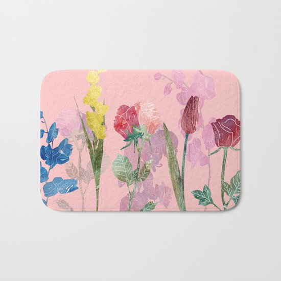 Flowers Four Pink Bath Mat
