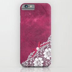 Claire´s treasure - White beautiful lace and pearl on pink grunge backround Slim Case iPhone 6s