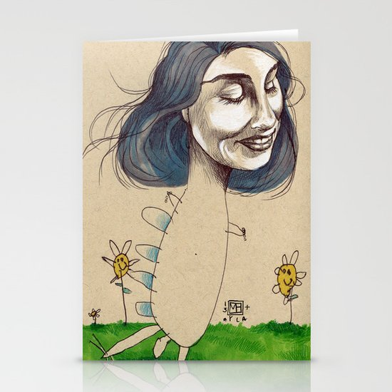 DINOSAUR GIRL Stationery Cards