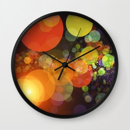 Galaxies Outer Space Orange Yellow Lime Green Planetary Pattern Black Backdrop by Saletta Home Decor Wall Clock