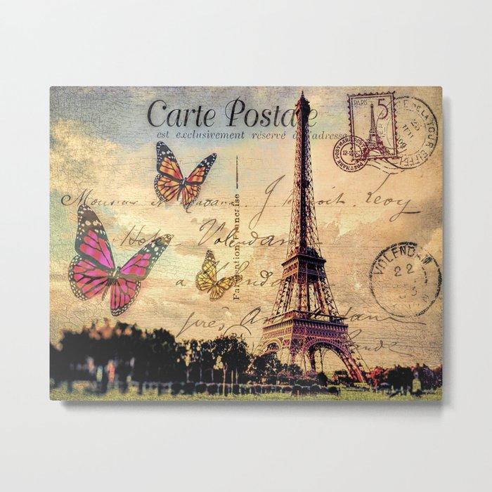Vintage Paris-Carte Postale Metal Print by augustinet | Society6