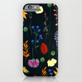 Beautiful Vintage Floral Arrangement on Black Background iPhone Case