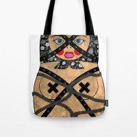 bondage Tote Bags featuring Bondage Matryoshka/Nesting Doll by Rozenblyum Couture