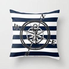 Navy Striped Nautica Throw Pillow