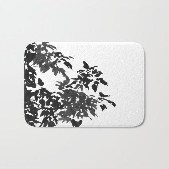 Leaves Silhouette - Black & White Bath Mat