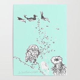 Two Tailed Duck and Jellyfish Mint Green Poster