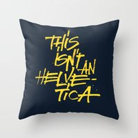 "lettering Throw Pillows featuring ""Helvetica"" Lettering by Sergi Ferrando"