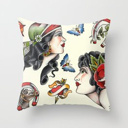 Vintage style tattoo design sheets by Sebastian Orth Throw Pillow