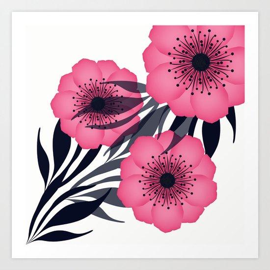 Pink flowers. Art Print