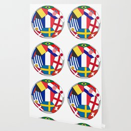 Football ball with various flags - semifinal and final Wallpaper