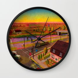 sunset in holland Wall Clock