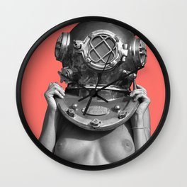 Diver UP - Living Coral Wall Clock
