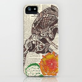 Jumpin' Jack Flash  (jack rabbit and cactus flower on dictionary page) iPhone Case