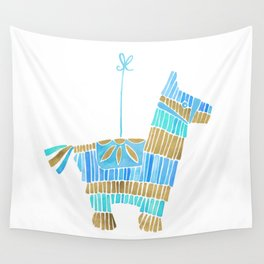 Mexican Donkey Piñata – Blue & Gold Palette Wall Tapestry
