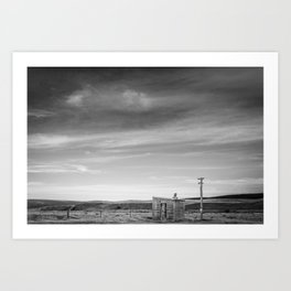 Shelter on the Tekapo to Pukaki Road (Black & White) Art Print