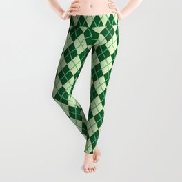 Green Argyle Pattern Leggings
