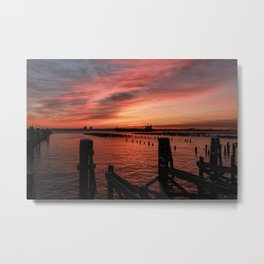 Sunrise & Pilings - Good Morning Metal Print