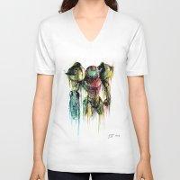 samus V-neck T-shirts featuring Samus Aran by David Lakin