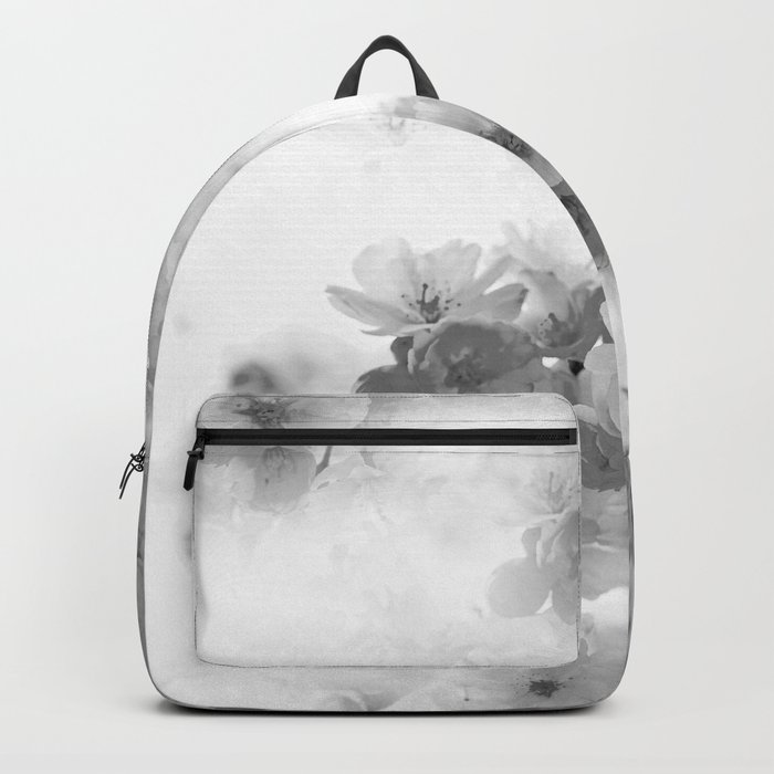 CHERRY BLOSSOMS GRAY AND WHITE Backpack