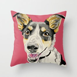 A portrait of Gertie the Spotted Dog  Throw Pillow