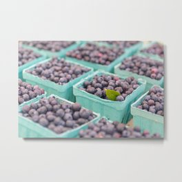 Blueberries at the market Metal Print