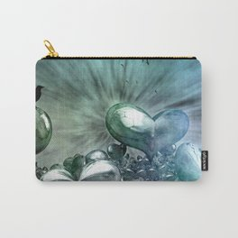Lost Hearts in Blue, Digital Art Carry-All Pouch