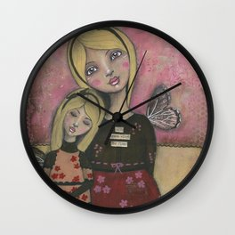 With Brave Wings She Flies, Whimsy Folk Art Painting Wall Clock